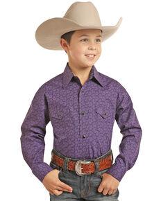 Panhandle Select Boys' Purple Geo Print Long Sleeve Western Shirt , Purple, hi-res
