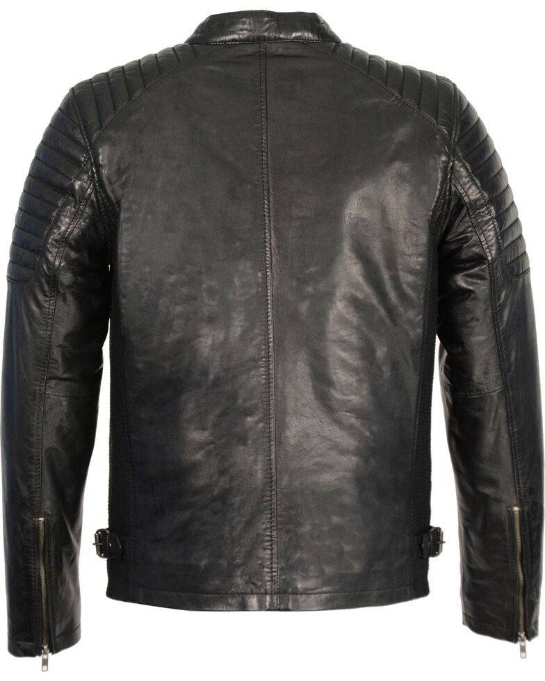 Milwaukee Leather Men's Quilted Shoulders Snap Collar Leather Jacket - 4X, Black, hi-res