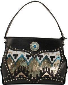 Blazin Roxx Black Chevron Sequin Shoulder Bag, Black, hi-res