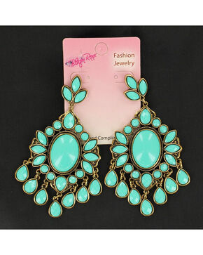 Blazin Roxx Turquoise Drop Chandelier Earrings, Turquoise, hi-res