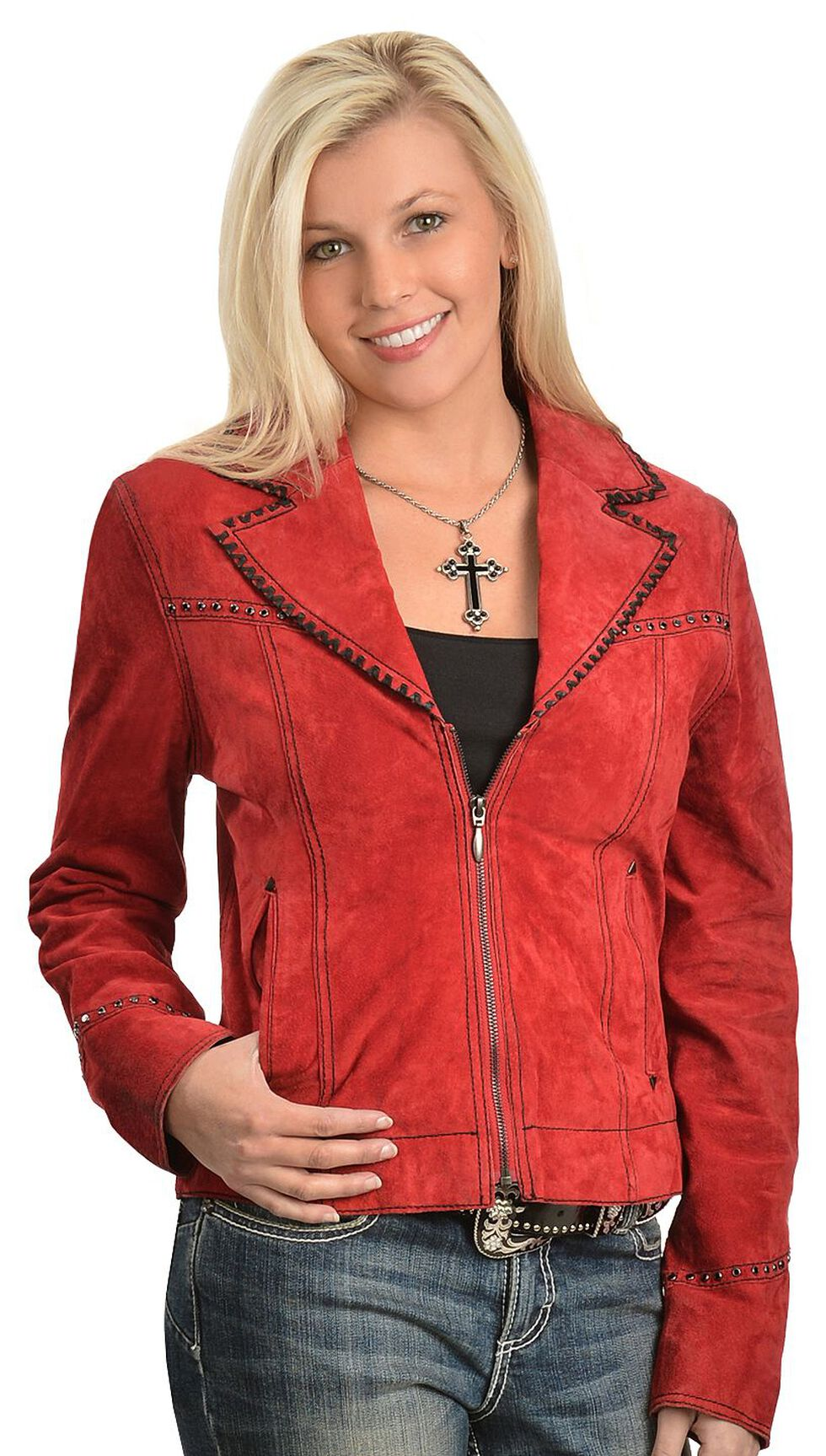 Cripple Creek Red Leather Jacket, Red, hi-res