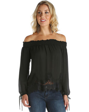 Wrangler Women's Black Scalloped Lace Top , Black, hi-res