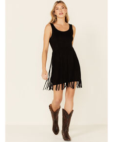 Idyllwind Women's Lady Luck Black Faux Suede Fringe Dress, Black, hi-res
