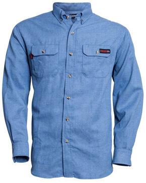 Tecgen Men's Light Blue FR Work Shirt - 2X-4X , Blue, hi-res