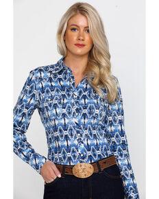 66291998d88 Rock & Roll Cowgirl Womens Aztec Print Long Sleeve Western Shirt , Blue, hi-