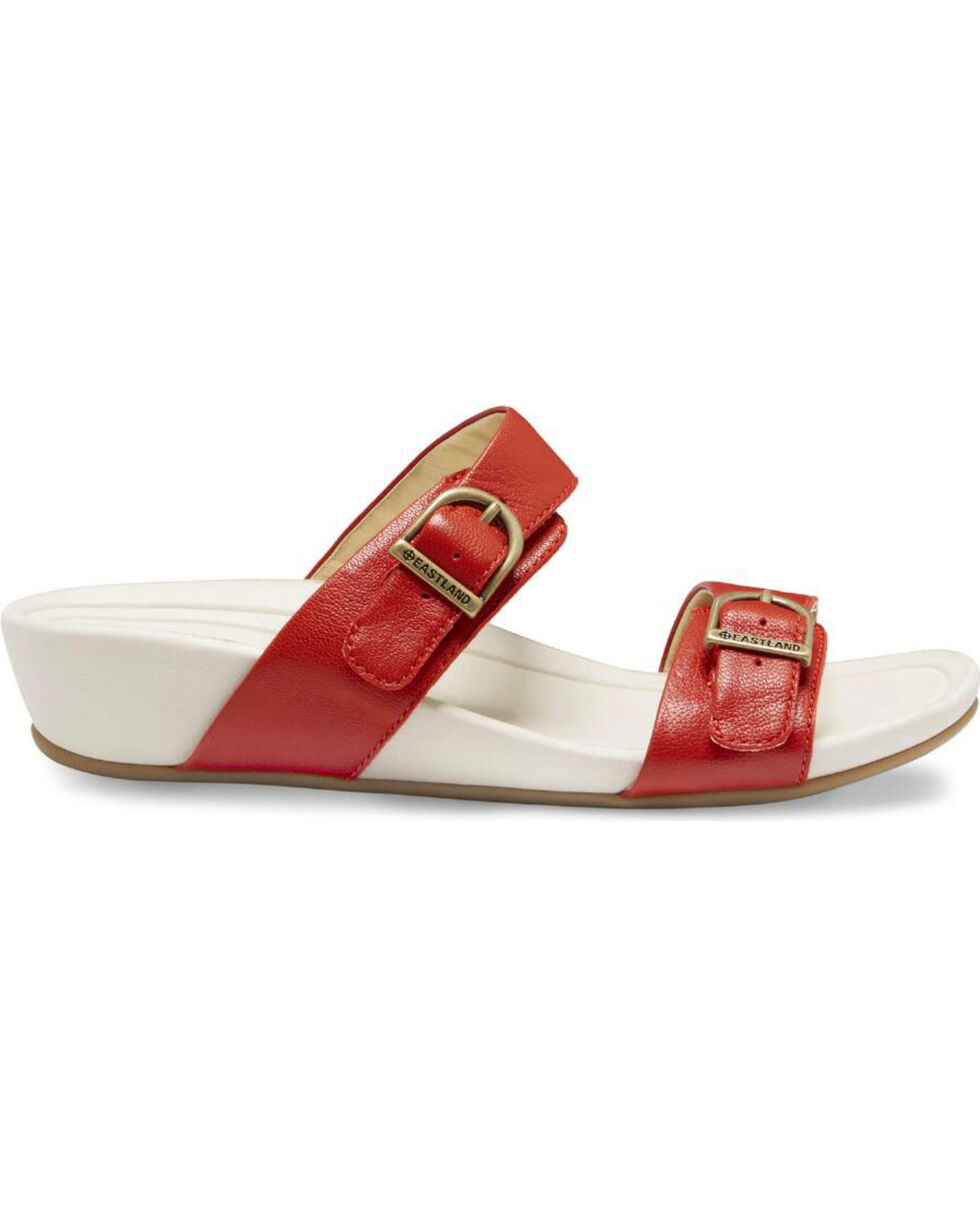 Eastland Women's Red Cape Ann Buckle Slide Sandals , Red, hi-res