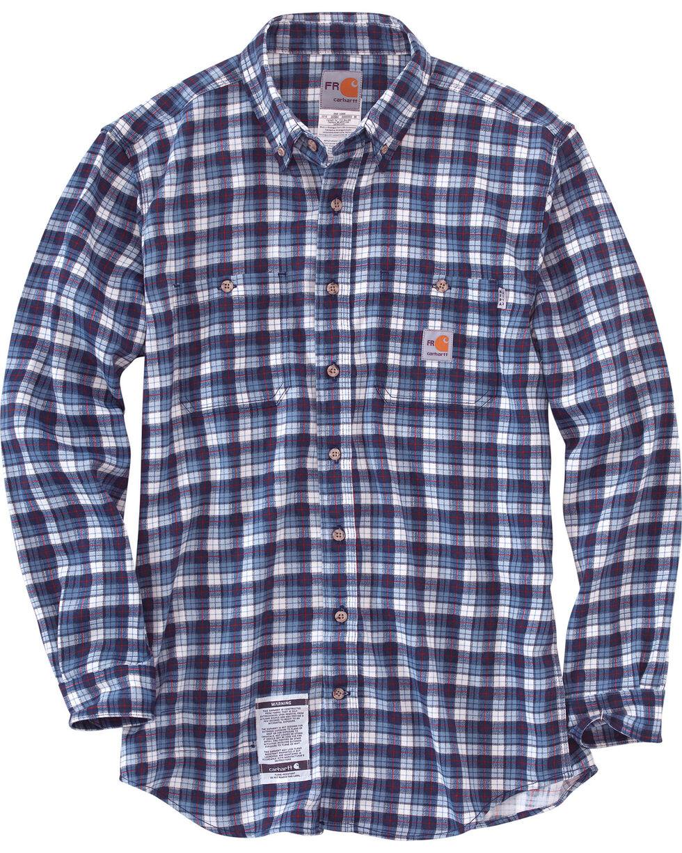 Carhartt Men's Flame Resistant Navy Classic Plaid Shirt, Navy, hi-res