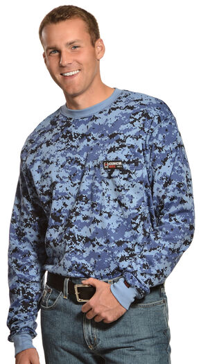 Cinch WRX Flame-Resistant Long Sleeve Camo T-Shirt, Blue, hi-res