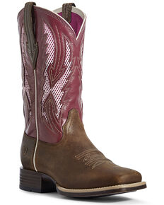 Ariat Women's Blackjack VentTEK Western Boots - Wide Square Toe, Brown, hi-res