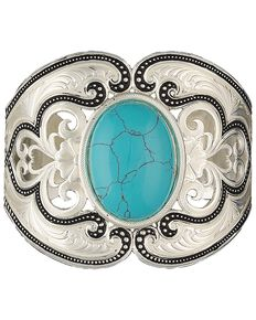 Montana Silversmiths Silver Pinpoints and Western Lace Cuff Bracelet , Silver, hi-res