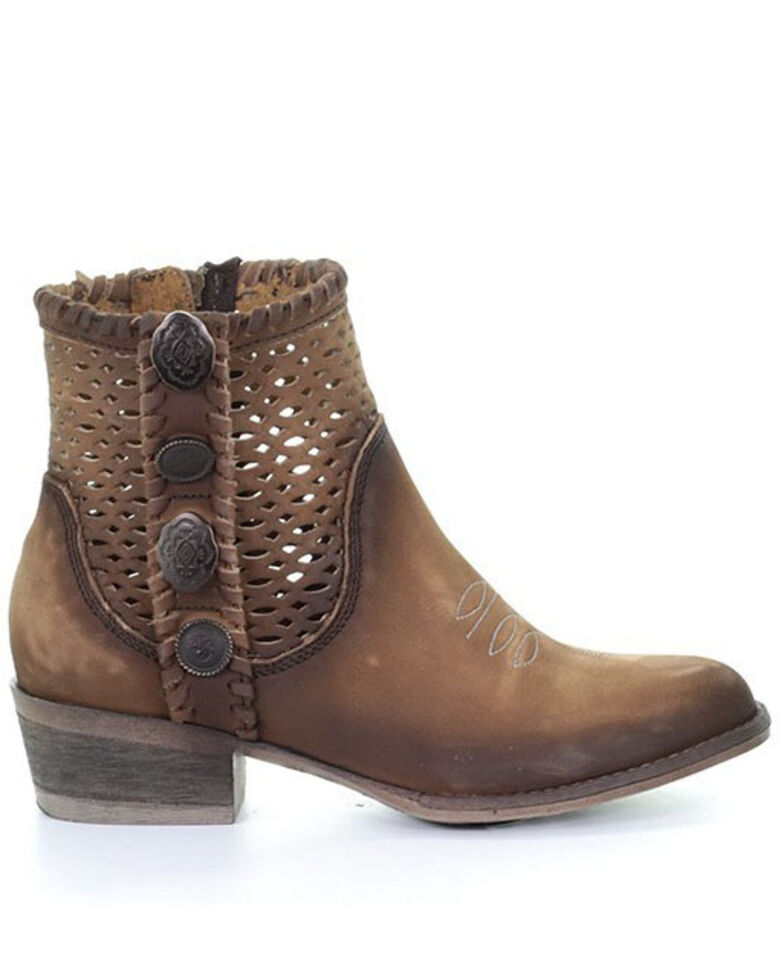 Corral Women's Chocolate Cutout Fashion Booties - Round Toe, Chocolate, hi-res