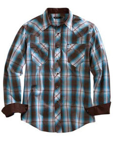 Tin Haul Men's Turquoise Plaid Long Sleeve Western Shirt , Brown, hi-res