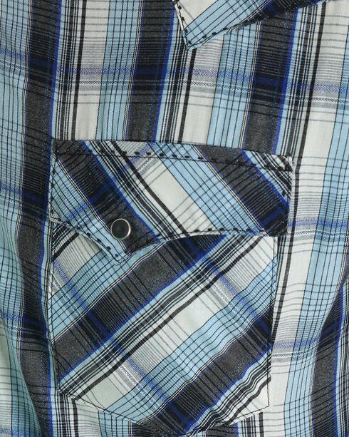 Wrangler Men's Blue Plaid Fashion Western Shirt , Blue, hi-res