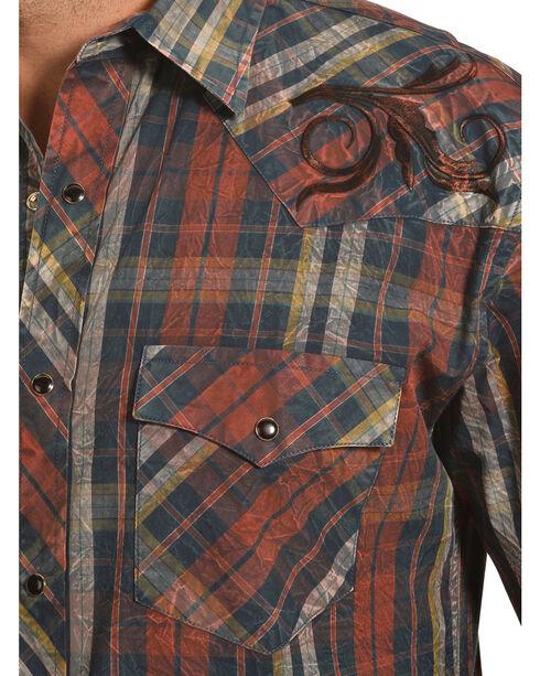 Crazy Cowboy Men's Distressed Plaid Embroidered Western Snap Shirt , Black, hi-res