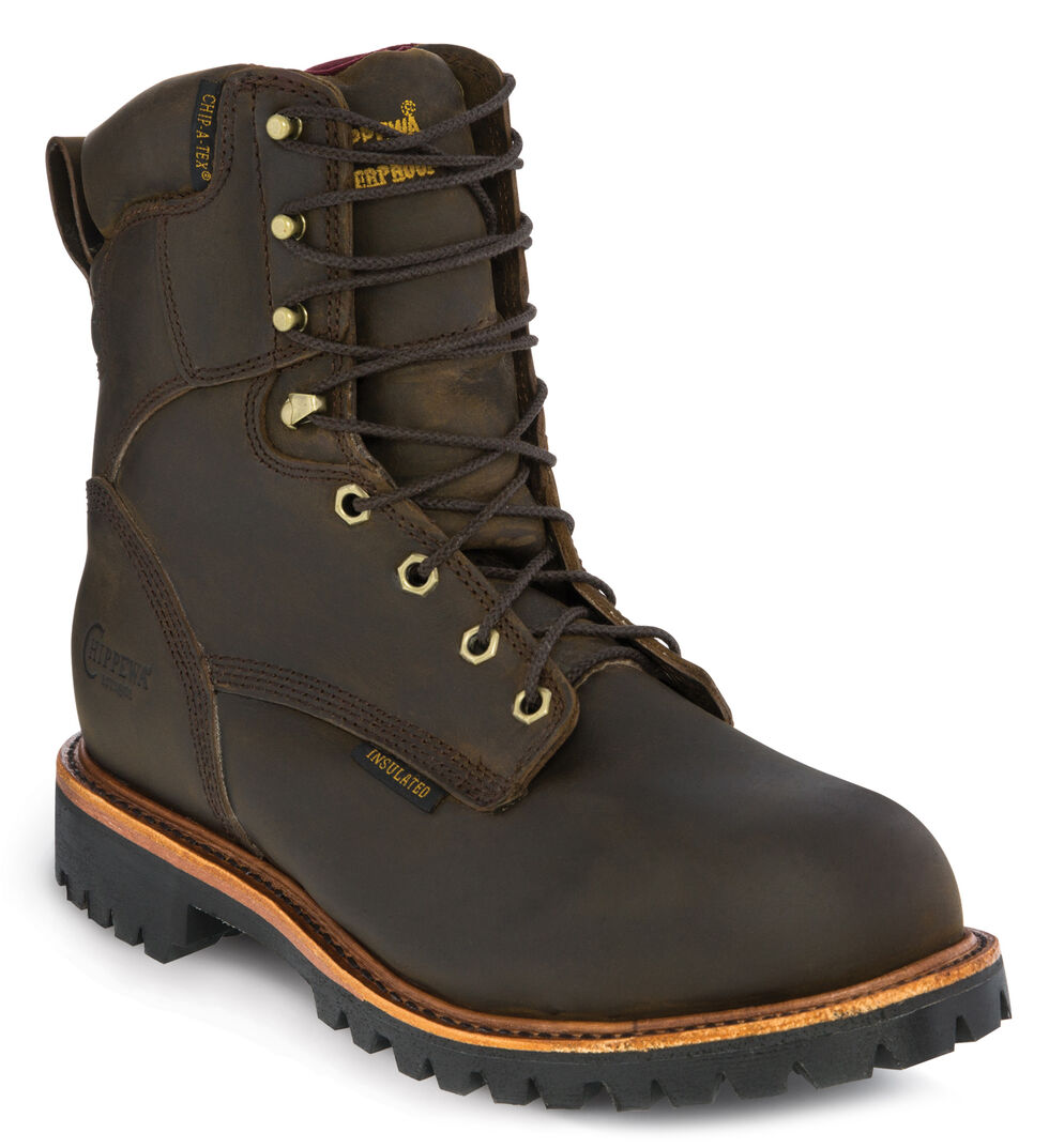 """Chippewa Bay Apache Waterproof & Insulated 8"""" Lace-Up Work Boots - Steel Toe, Bay Apache, hi-res"""