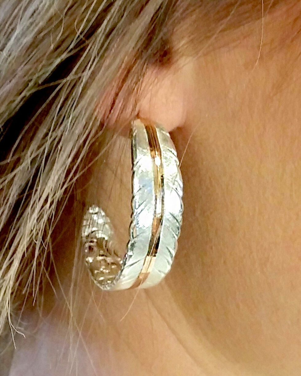 Montana Silversmiths Women's Silver Feather Vein Hoop Earrings , Silver, hi-res