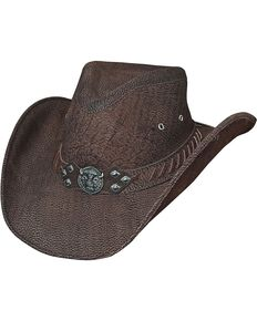 Bullhide American Buffalo Top Grain Leather Hat, Chocolate, hi-res