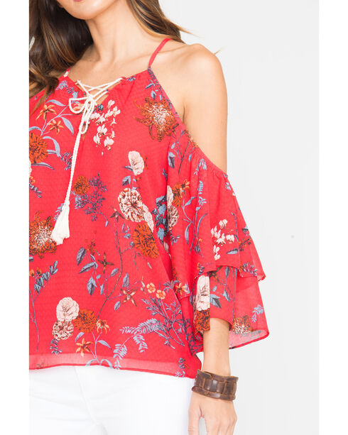 Miss Me Women's Red Floral Cold Shoulder Top with Tassels, Red, hi-res