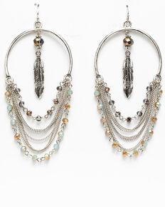 Shyanne Women's Blue Falls Fancy Swag Feather Charm Earrings, Silver, hi-res