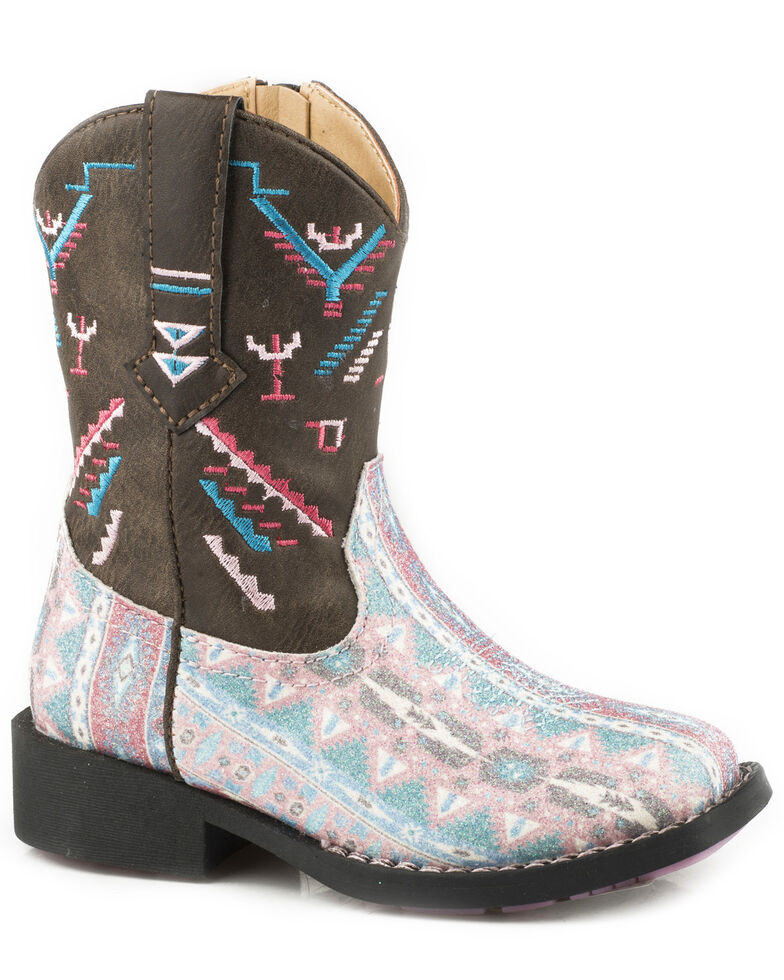 outlet boutique beautiful style browse latest collections Roper Toddler Girls' Glitter Azteka Cowgirl Boots - Square Toe
