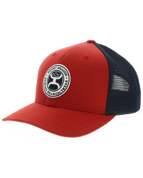 HOOey Men's Circle Guadalupe Patch Red Trucker Cap, Red, hi-res