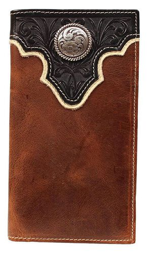 Ariat Two-Tone Tooled Overlay  & Concho Rodeo Wallet, Multi, hi-res