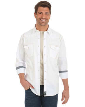 Rock 47 by Wrangler Men's White Long Sleeve Western Shirt, White, hi-res