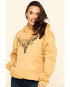 Cowgirl Tuff Women's Mustard Floral Longhorn Hoodie, Dark Yellow, hi-res