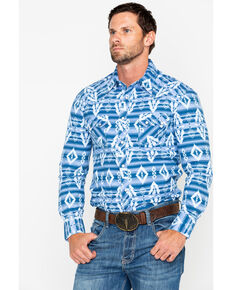 Rock & Roll Denim Men's Striped Aztec Print Long Sleeve Western Shirt, Light Blue, hi-res