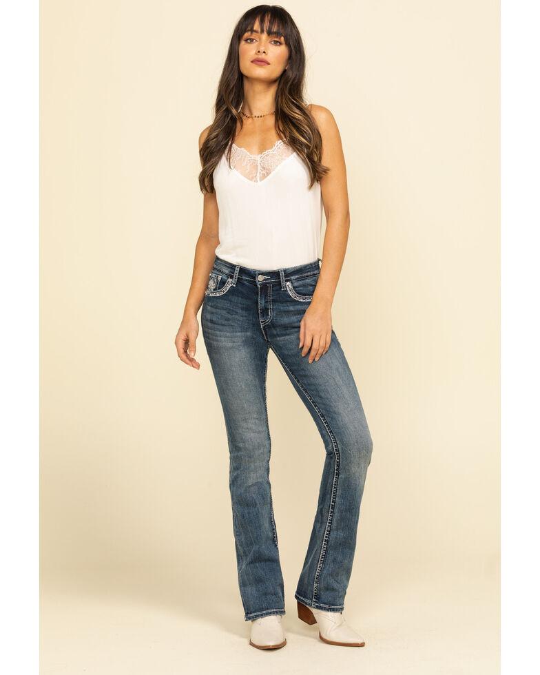 "Grace in LA Women's Leaf 34"" Bootcut Jeans, Blue, hi-res"