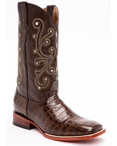 Ferrini Men's Chocolate Alligator Belly Print Cowboy Boots - Square Toe, Chocolate, hi-res