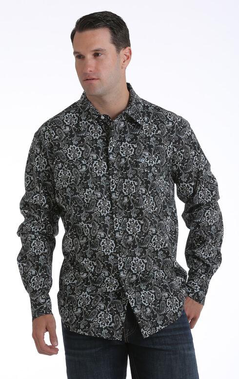 Garth Brooks Sevens by Cinch Men's Black Paisley Print Western Shirt, Black, hi-res