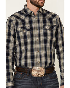 Moonshine Spirit Men's Cat Scratch Fever Large Plaid Long Sleeve Snap Western Shirt , Navy, hi-res