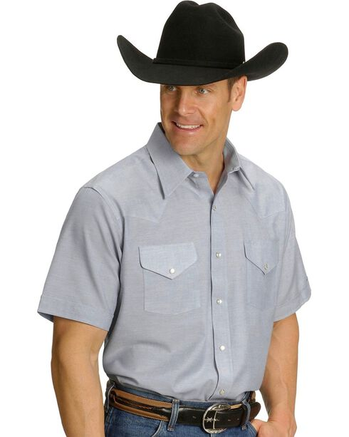 Ely Men's Oxford Western Shirt - Big, Tall, Big/Tall, Light Blue, hi-res