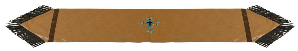 HiEnd Accents Tan Faux Leather Table Runner, Tan, hi-res