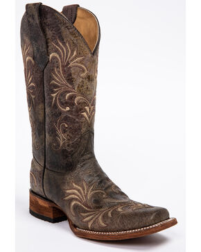 Circle G Distressed Filigree Cowgirl Boots - Square Toe, Distressed, hi-res