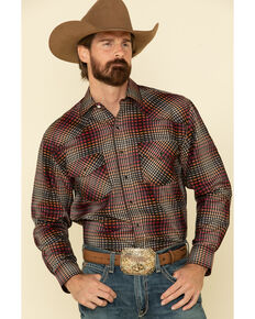 Resistol Men's Multi Chestnut Check Plaid Long Sleeve Western Shirt , Multi, hi-res