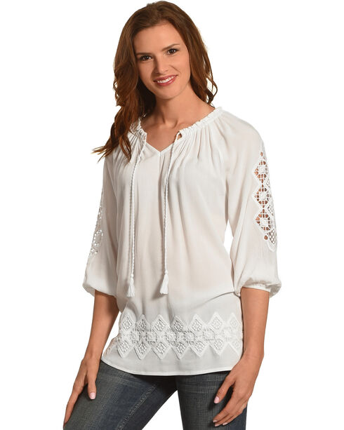 Ruby Rd. Women's Split Neck with Tassel Solid Crepe Top, White, hi-res