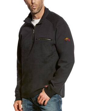 Ariat Men's Black FR Rev 1/4 Zip Pullover , Black, hi-res
