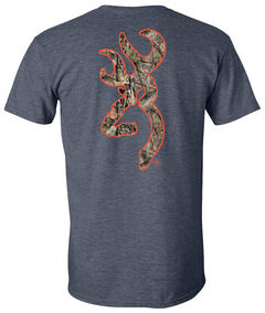 Browning Men's Mossy Oak Country Buckmark Navy Short Sleeve Tee, Navy, hi-res