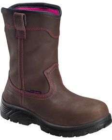 Avenger Women's Waterproof Wellington Work Boots - Composite Toe, Brown, hi-res