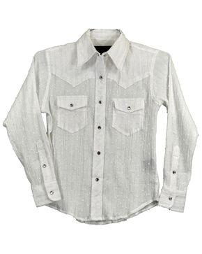 Cowgirl Hardware Girls' Glitter Stripe Long Sleeve Western Shirt , White, hi-res