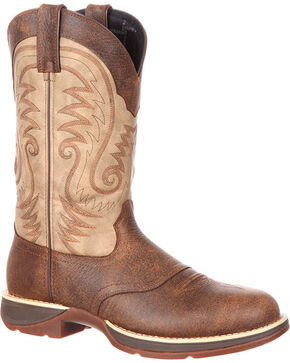 Rebel by Durango Women's Brown Waterproof Western Saddle Boots - Round Toe , Brown, hi-res