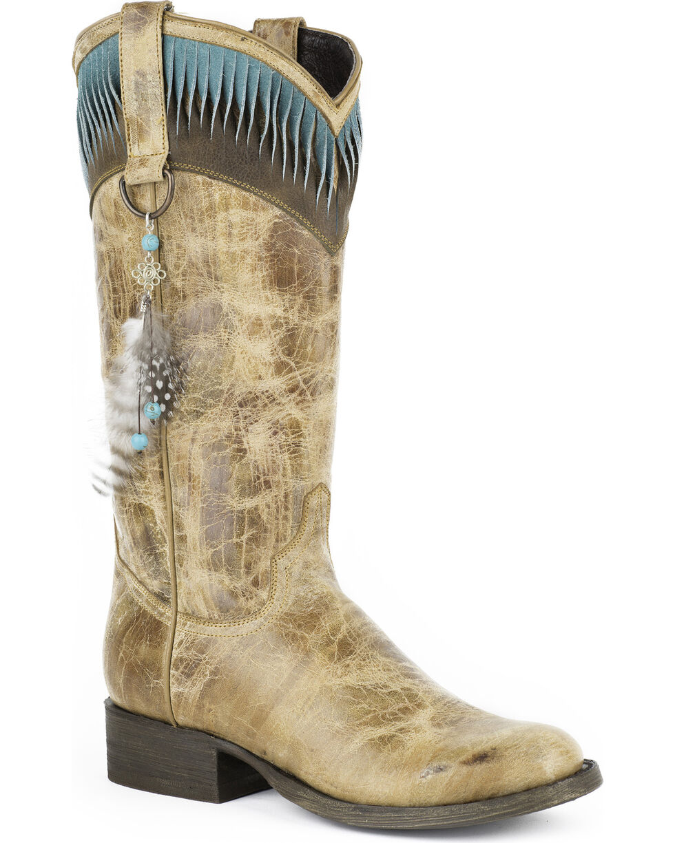 Stetson Kai Feather Cowgirl Boots - Round Toe, Brown, hi-res