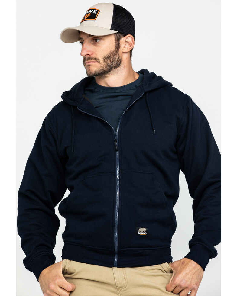 Berne Men's Original Hooded Work Sweatshirt, Navy, hi-res