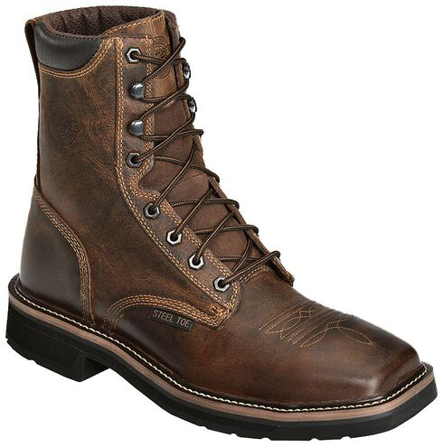 "Justin Stampede 8"" Lace-Up Work Boots - Steel Toe, Rugged, hi-res"