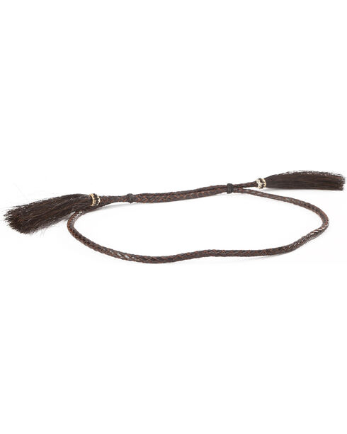 Cody James Men's Brown Leather Braid Horse Hair Tassel Hat Band, Brown, hi-res