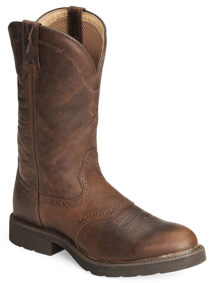 Twisted X Pullon Work Boot - Round Toe, Brown, hi-res