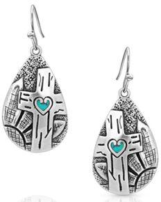 Montana Silversmiths Women's Blooming Cross Opal Teardrop Earrings, Silver, hi-res