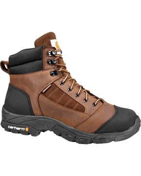 "Carhartt Men's 6"" Waterproof Lightweight Work Hiker Boots - Round Toe, Chocolate, hi-res"